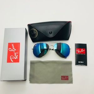 Ray Ban Aviators Blue Flash Lens style silver